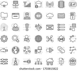 Editable thin line isolated vector icon set - globe, check in, chip vector, data transfer, antenna signal, world, woman, social media, network, notebook, disconnection, folder, cloud, server, gear