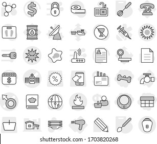 Editable thin line isolated vector icon set - market, necklace, bone, male sign vector, hospital, virus, flammable, sun, water tap, hair dryer, satellite antenna, whisk, big spoon, splotch, plates