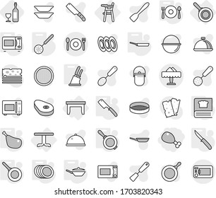 Editable thin line isolated vector icon set - chicken leg, cafe, restaurant, table, Chair for babies, pan, skimmer, knife holder, chef, microwave oven, cooking book, plates, fork spoon plate, wine