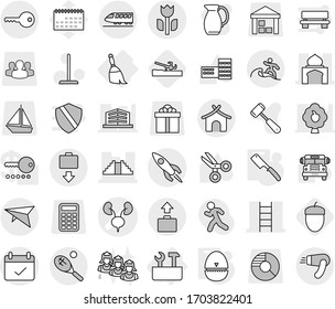 Editable thin line isolated vector icon set - kidneys vector, minaret, pyramid, stairs, terms, perishable, rocket, train, deltaplane, baggage get, bungalow, surfer, tennis, key, broom, repair tools