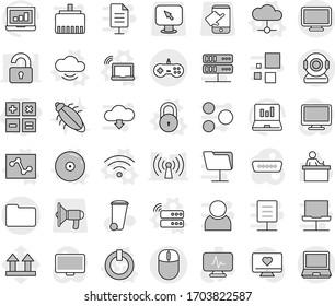 Editable thin line isolated vector icon set - calculator, documents, on off button vector, laptop wifi, server, cloud, service, wireless, lock, analytics, cd, trash bin, bug, student, graph, arrow