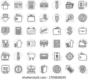 Editable thin line isolated vector icon set - dollar coin, mobile pay, wallet, credit card, cashbox, calculator, library, money, atm, graph vector, cart, cash, percent growth, case, investment, man