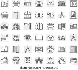 Editable thin line isolated vector icon set - hospital vector, arch, bridge, drawbridge, draw compass, houses, library, building, skyscrapers, airport, lighthouse, fence, church, garage, window