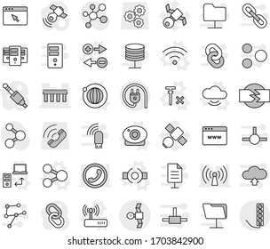 Editable thin line isolated vector icon set - bridge, satellite, share vector, connect, charge particle, cloud service, data transfer, orbit, web camera, wireless, router, no signal, molecule, gear