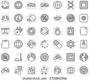 Editable thin line isolated vector icon set - add to cart, percent, info, pill vector, bridge, globe, earth, disco ball, ring button, table, cutting board, gear, dna, cd, reload, toilet brush, world