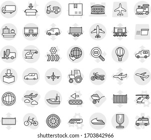 Editable thin line isolated vector icon set - journey, ambulance helicopter vector, airport building, plane, delivery, sea shipping, car, scooter, fragile, package, fork loader, railroad, train