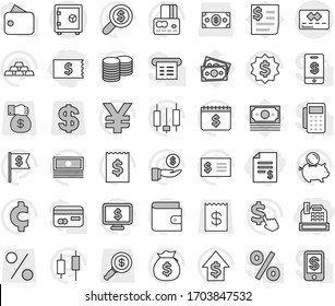 Editable thin line isolated vector icon set - account balance, receipt, cashbox, credit card, safe, japanese candle vector, wallet, cash, money bag, piggy bank, investment, dollar growth, coin stack