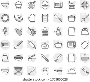Editable thin line isolated vector icon set - cutting board, pan, cauldron, egg timer, skimmer, big spoon, chef knife, rolling pin, grill oven, gas, induction, blender, bbq, apron, vector, kettle