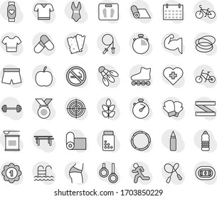 Editable thin line isolated vector icon set - diet vector, barbell, measuring, scales, stopwatch, pills vial, bike, jump rope, horizontal bar, punching bag, muscule hand, buttocks, boxing glove, run