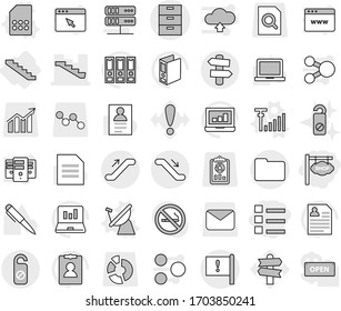 Editable thin line isolated vector icon set - shop signboard, list, archive vector, stairs, important flag, documents, escalator, signpost, do not distrub, satellite antenna, sim card, signal, pen