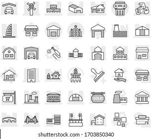 Editable thin line isolated vector icon set - bridge, cottage, skyscraper, airport building, minaret, warehouse, modern architecture, house with garage, block wall, windmill, city, greenhouse, hotel