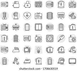 Editable thin line isolated vector icon set - tv, pacemaker vector, air conditioning, power socket, switch, kettle, vacuum cleaner, chip, battery, microwave oven, iron, toaster, bulb, radio, blender
