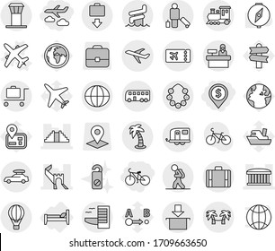 Editable thin line isolated vector icon set - dollar pin, journey, bike, greate wall, airport building, pyramid, plane, package, globe, train, car baggage, trailer, bus, air ballon, tourist, tower