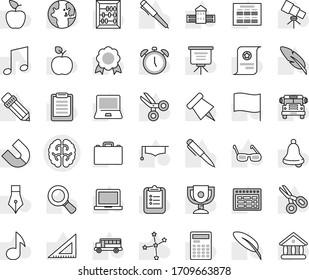 Editable thin line isolated vector icon set - brain vector, graduate hat, pen, pencil, school building, corner ruler, glasses, case, apple fruit, telescope, bell, calculator, notebook pc, schedule