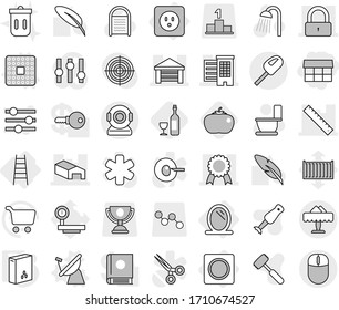 Editable thin line isolated vector icon set - market, houses, garage, warehouse, ruler, lock, medal, restaurant, mirror, power socket, ring button, stairs, cpu vector, satellite antenna, cereals