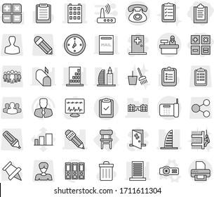 Editable thin line isolated vector icon set - clipboard, calculator, building, skyscraper, school, pencil, phone, check, reception, watch, chair, projector vector, trash bin, bucket and broom, list