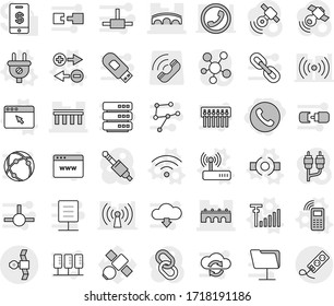 Editable thin line isolated vector icon set - phone, bridge, satellite, connect vector, charge particle, plug, mobile, wireless, router, browser window, antenna signal, call, satellitie, link, rca