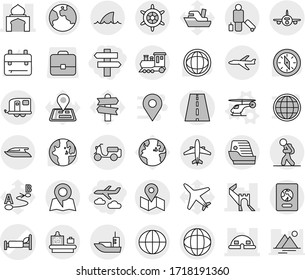 Editable thin line isolated vector icon set - journey, singlepost, hospital bed vector, greate wall, minaret, dome house, road, globe, plane, sea shipping, scooter, map, earth, train, trailer, yacht