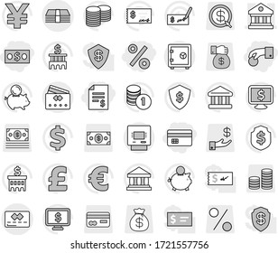 Editable thin line isolated vector icon set - hand coin, money, credit card, account balance, percent, library, atm, safe, bank vector, piggy, stack, check, building, dollar shield, monitor, pound