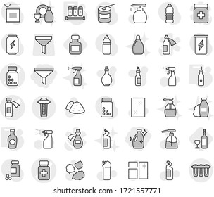 Editable thin line isolated vector icon set - funnel, cleanser, pills bottle vector, potion, vegetable oil, spices, ketchup, wine, window cleaning, liquid soap, sprayer, agent, garbage pile, shampoo