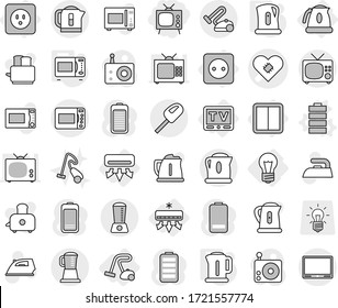Editable thin line isolated vector icon set - tv, pacemaker vector, bulb, air conditioning, power socket, switch, kettle, vacuum cleaner, battery, microwave oven, iron, toaster, radio, blender