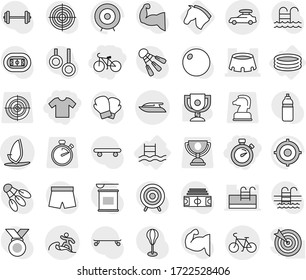 Editable thin line isolated vector icon set - t shirt, stopwatch, bike, stadium, car baggage, surfer, yacht, windsurfing, inflatable pool, horse, award cup vector, target, barbell, punching bag
