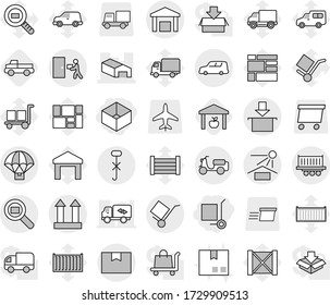 Editable thin line isolated vector icon set - box, cargo stoller, warehouse, truck shipping, car, scooter, package, trolley, sun potection, top sign, do not hook, courier delivery, search, parachute