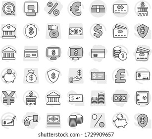 Editable thin line isolated vector icon set - hand coin, money, credit card, percent, library, atm, safe, bank vector, piggy, stack, check, building, dollar shield, monitor, euro sign, pound, yen