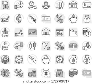 Editable thin line isolated vector icon set - hand coin, percent, money, house hold vector, bank, japanese candle, crisis, bag, piggy, investment, stack, check, building, cent sign, dollar, gift