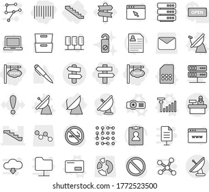 Editable thin line isolated vector icon set - bar code, store signboard, shop, singlepost, stairs, reception, signpost, satellite antenna, vector, envelope, sim card, projector, circuit, signal, pen