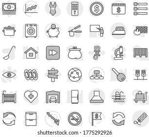 Editable thin line isolated vector icon set - pan vector, cook press, ladle, plates, blackboard, dollar coin, graph, crisis, piggy bank, flag, hierarchy, calendar, swimsuite, pool, no smoking, money