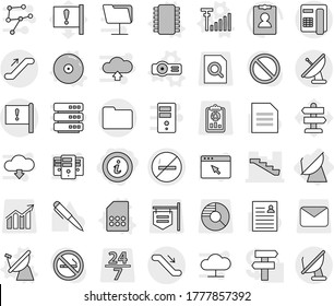 Editable thin line isolated vector icon set - info, stairs, important flag, documents, escalator, no smoking, satellite antenna, chip vector, sim card, projector, cd, signal, pen, document, signpost