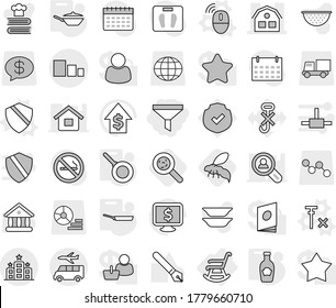 Editable thin line isolated vector icon set - funnel, house, sorting, hotel, transfer, rocking chair, wireless mouse vector, shield, no signal, pan, ketchup, viruses, wasp, colander, cookbook, pen