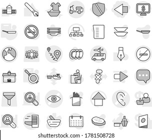 Editable thin line isolated vector icon set - left arrow, eye vector, ear, route, sms, scooter shipping, earth, hotel, transfer, no smoking, pan, plates, handle washing, measuring cup, pasta, steak