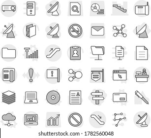 Editable thin line isolated vector icon set - singlepost, stairs, important flag, documents, escalator, reception, satellite antenna, vector, cloud, envelope, cd, browser window, signal, pen, binder