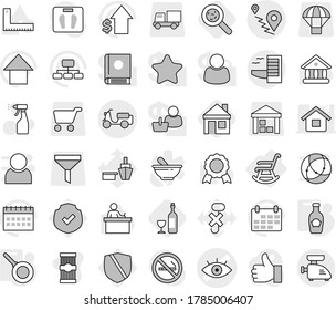 Editable thin line isolated vector icon set - eye vector, route, scooter shipping, hotel, rocking chair, pan, ketchup, house, viruses, wine, sprayer, pasta, corner ruler, student, medal, university