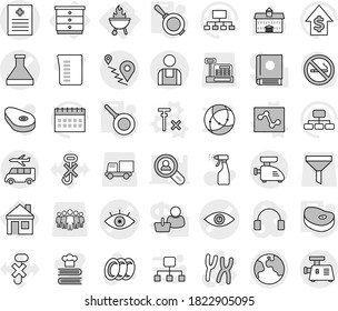 Editable thin line isolated vector icon set - flask vector, eye, recipe, route, workman, earth, transfer, chest of drawers, bbq, analytics, no signal, pan, steake, house, sprayer, plates, cookbook