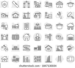 Editable thin line isolated vector icon set - store, home, mansion, skyscraper, mall, minaret, house with garage, modular, block wall, repair, level, tower crane, architector, arch, loading, workman