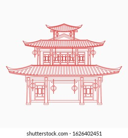 Editable Three Roofs Traditional Chinese Building Vector Illustration in Outline Style for Artwork Element of Oriental History and Culture Related Design