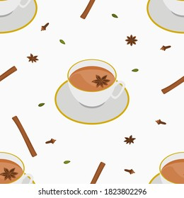 Editable Three-Quarter Top View Vector Illustration of White Cup of Masala Chai with Star Anise Topping and Other Herb Spices Seamless Pattern