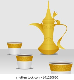 Editable Traditional Arabic Coffee with Dallah Pot and Finjan Demitasse Cups Vector Illustration in Gold Color Gradient Style