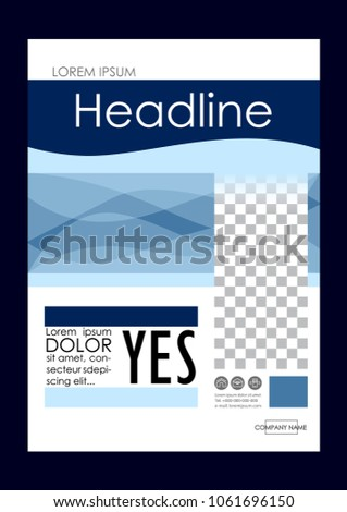 Editable Vector. A4 Business Book Cover Layout Design Template for Portfolio, Brochure, Annual Report, Flyer, Magazine, Academic Journal, Poster, Monograph, Corporate Presentation. Yes Concept.