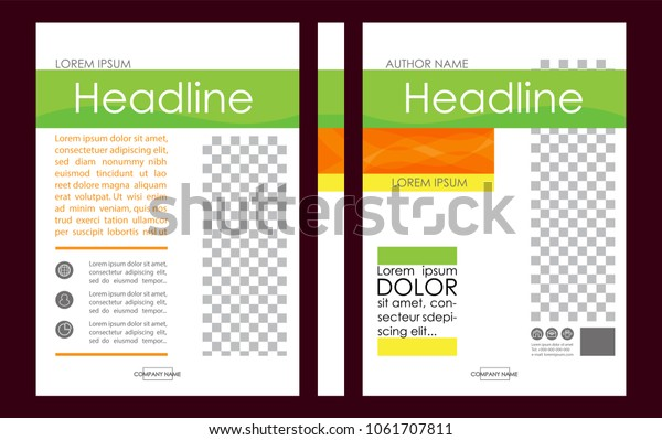 Editable Vector. A4 Business Book Cover Layout Design Template for Portfolio, Brochure, Annual Report, Flyer, Magazine, Academic Journal, Poster, Monograph, Corporate Presentation. Place for photo.