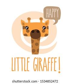 Editable vector. Animal drawing. Funny giraffe drawing.