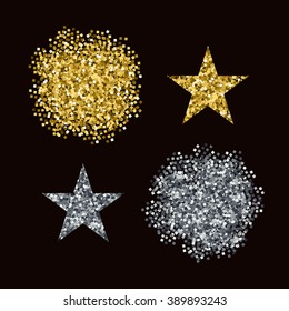 Editable vector brushes Golden and Silver glitter