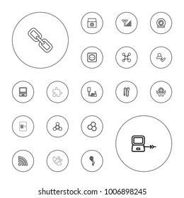 Editable vector connection icons: laptop connection, gear, add user, laptop, chemical structure, share, holding globe, signal, wire, plug socket on white background.