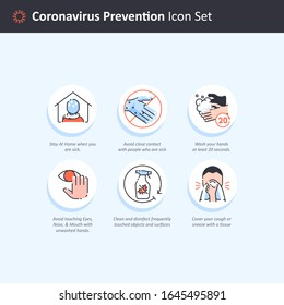 Editable Vector of Coronavirus Prevention Icon Set for Infographic