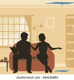 Editable vector cutout illustration of a couple at home discovering a leak through their ceiling