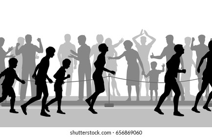 Editable vector cutout illustration of a crowd supporting mixed runners in a race