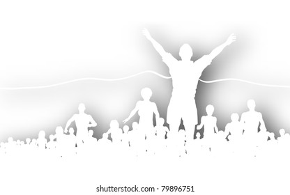 Editable vector cutout of a man winning a race with background shadow made using a gradient mesh